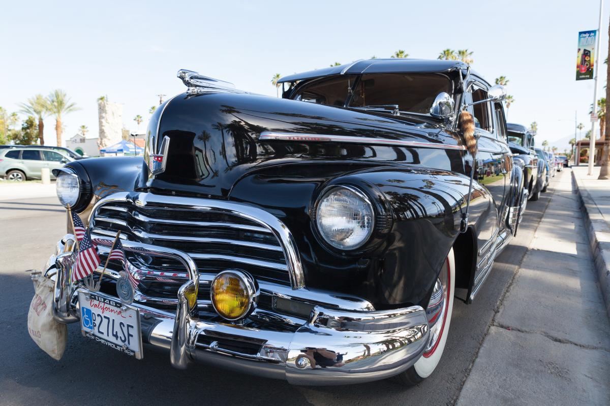 Black classic car parked.