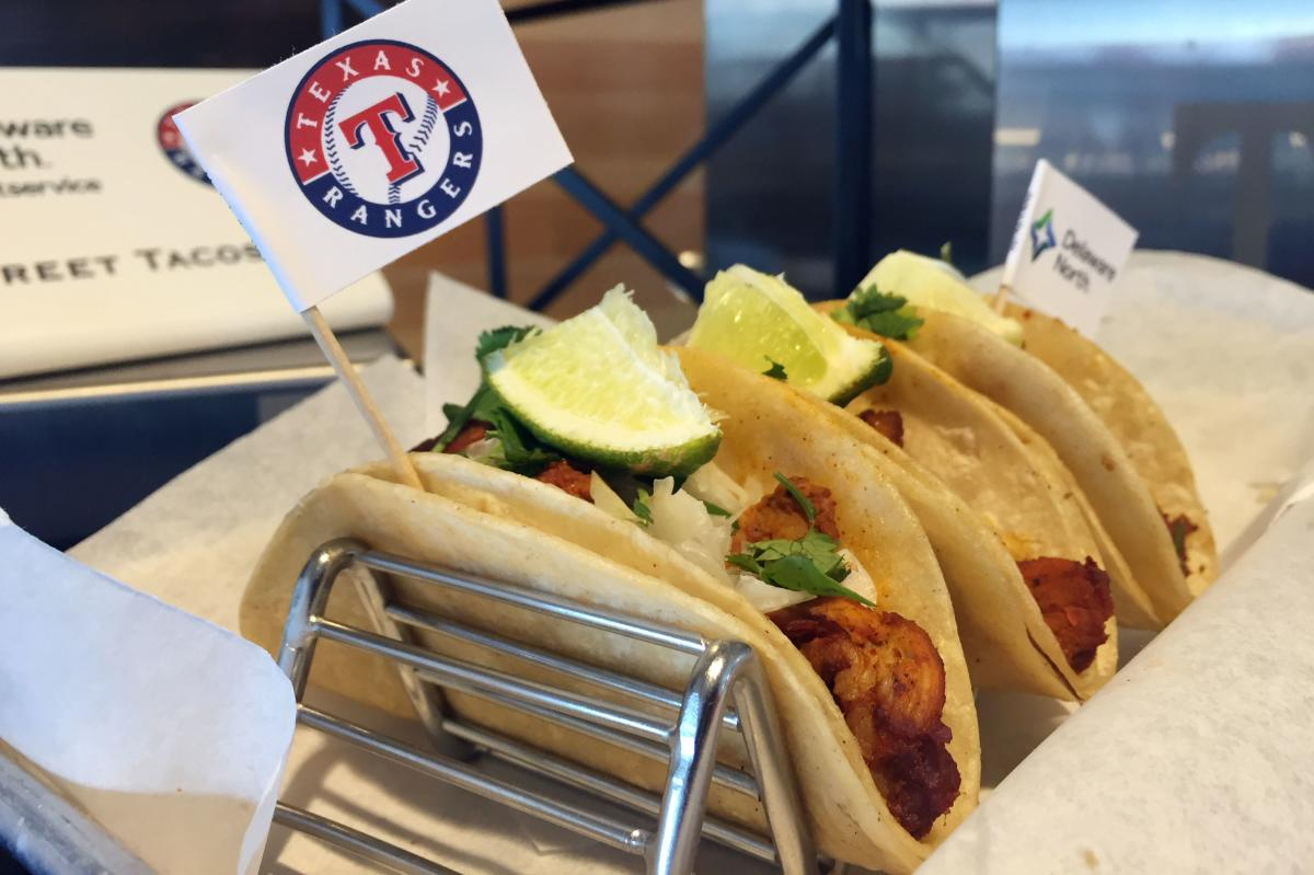 Texas Rangers Food - Vegan Street Tacos are Beyond Meats vegan crumbles with fresh Pico de Gallo