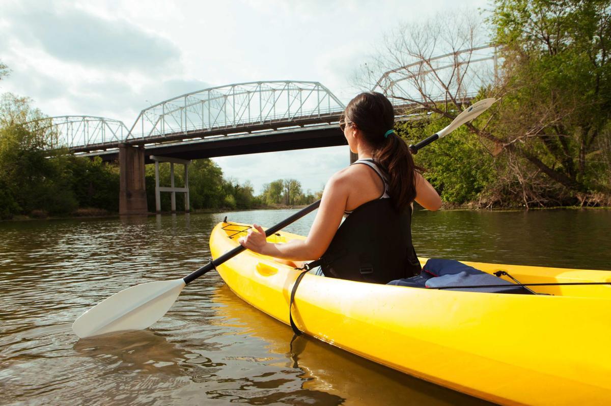 Woman Kayaking on Lake Bastrop