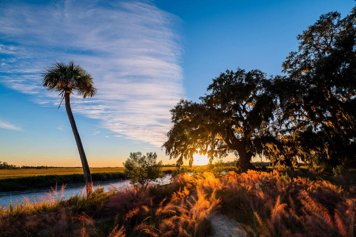 The sun sets over the marshes of Little St. Simons Island, GA