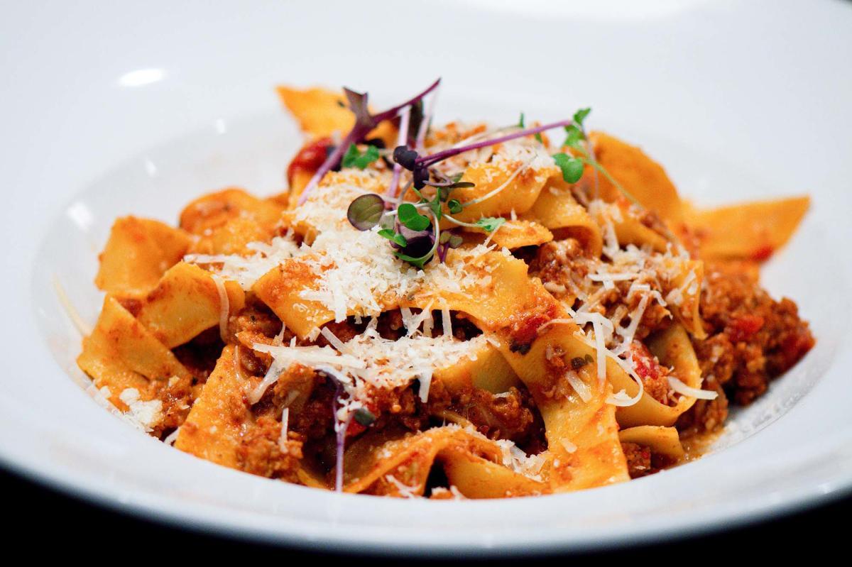 A plated pasta dish from Tramici Italian restaurant on St. Simons Island, GA