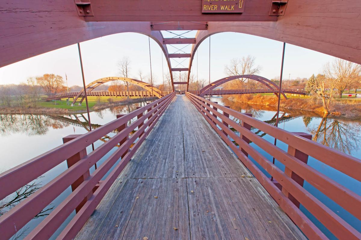 View while standing on the Tridge in Midland, MI