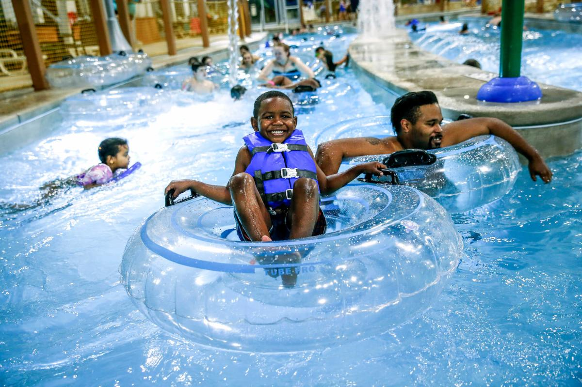 Boy Tubing at Zehnder's Splash Village Hotel & Waterpark