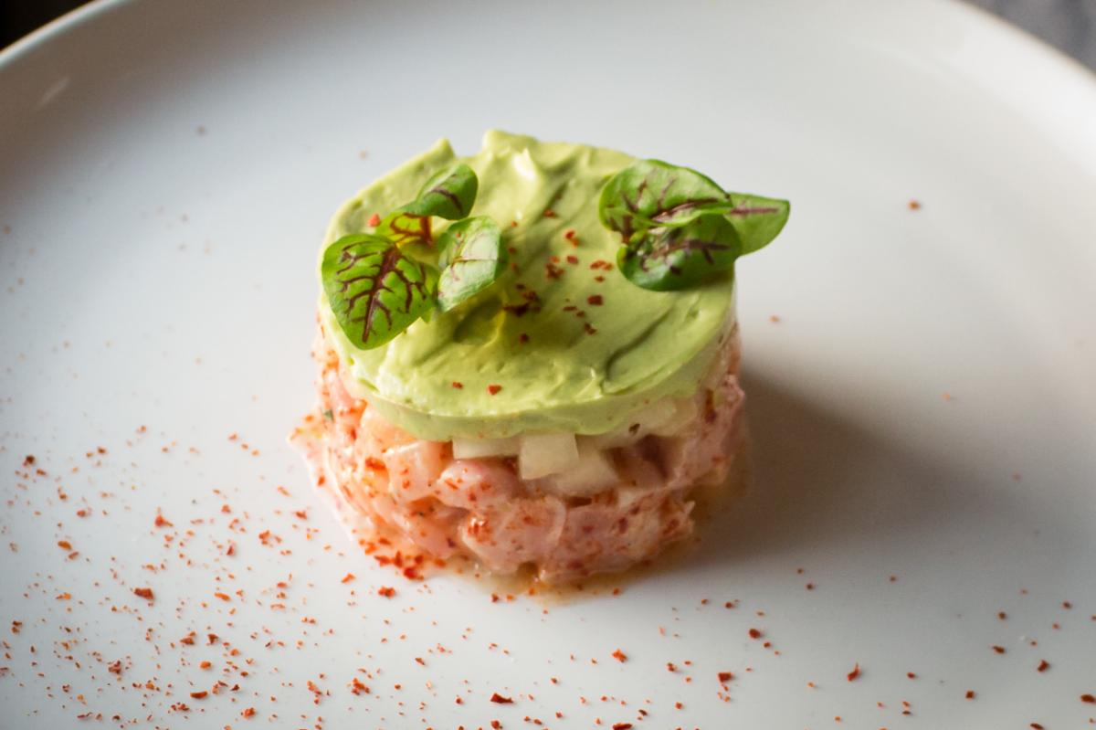 Hamachi Tartare on a white plate