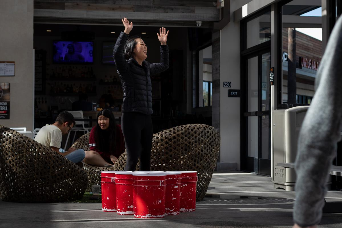 Play the super-sized beer pong at Trade Food Hall in Irvine