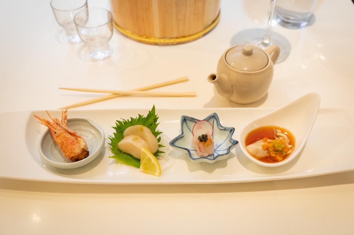 O-Fine-Japanese-Cuisine-sushi-chopsticks-soy-sauce-saki-cups