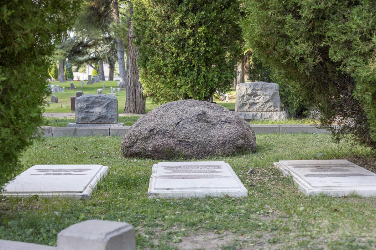A boulder at the McCormick and Simms graves, Fairview Memorial Park, Albuquerque