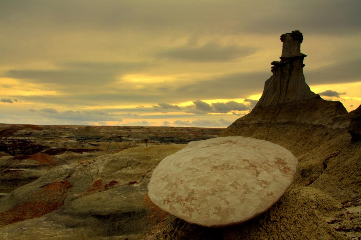 A hoodoo against a moody sky at Bisti Formations in New Mexico