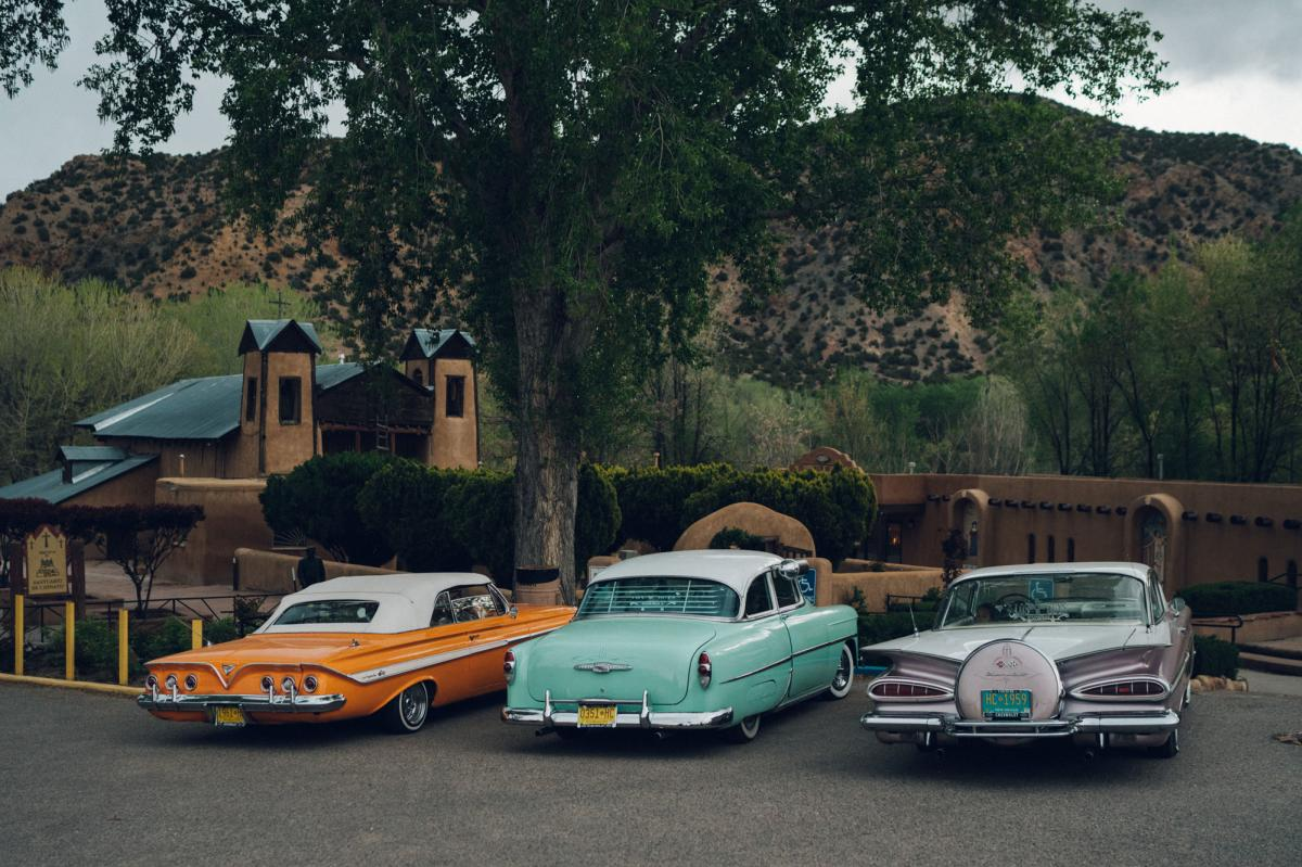 Lowrider cars at the Sanctuario de Chimayo