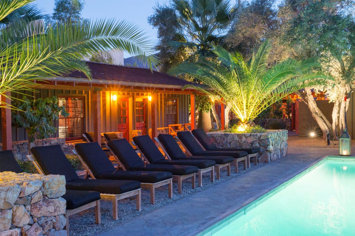 Lounge chairs and palm trees by the pool at the Sparrows Lodge in Palm Springs