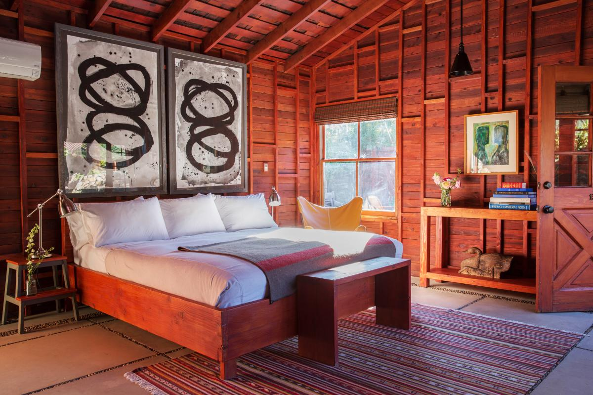 Rustic chic guest room at Sparrows Lodge in Palm Springs