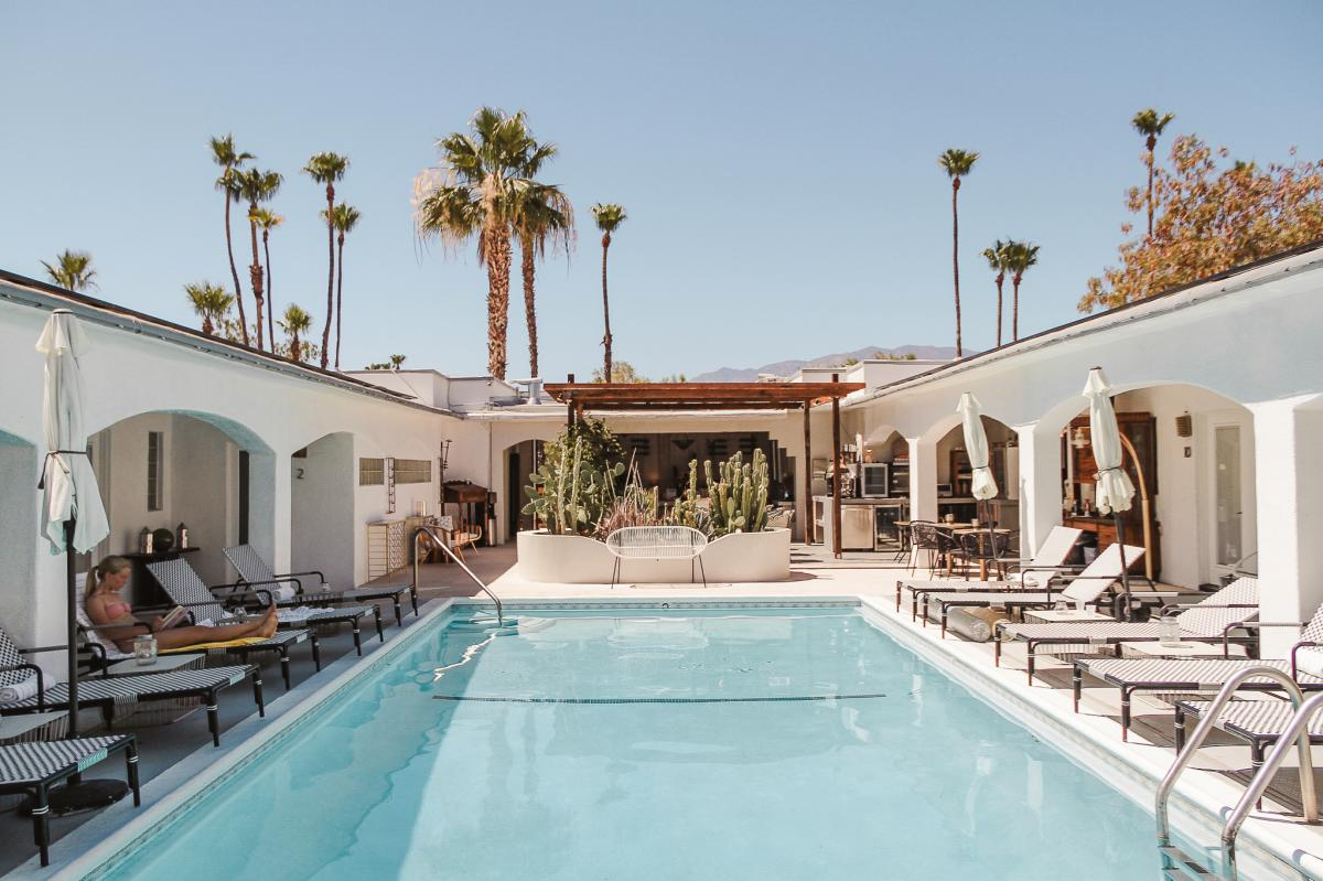 Hotel pool at the Westcott in Palm Springs, California