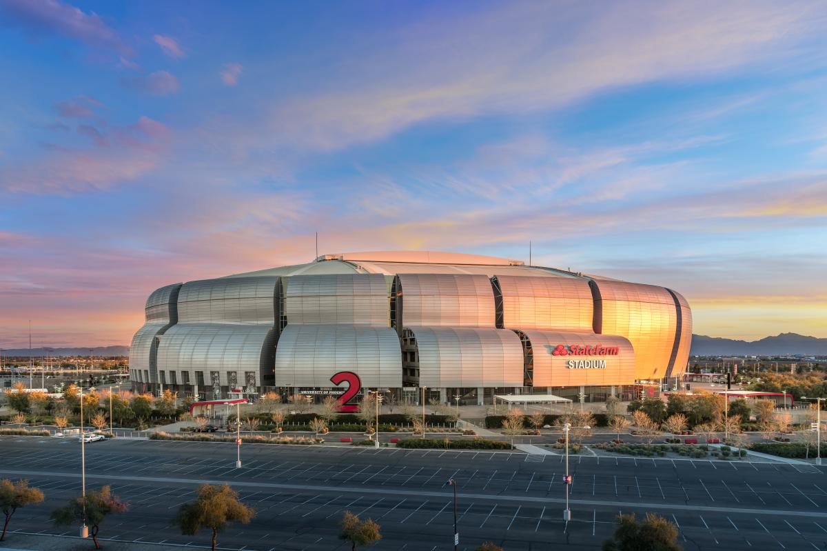 An exterior photo of State Farm Stadium