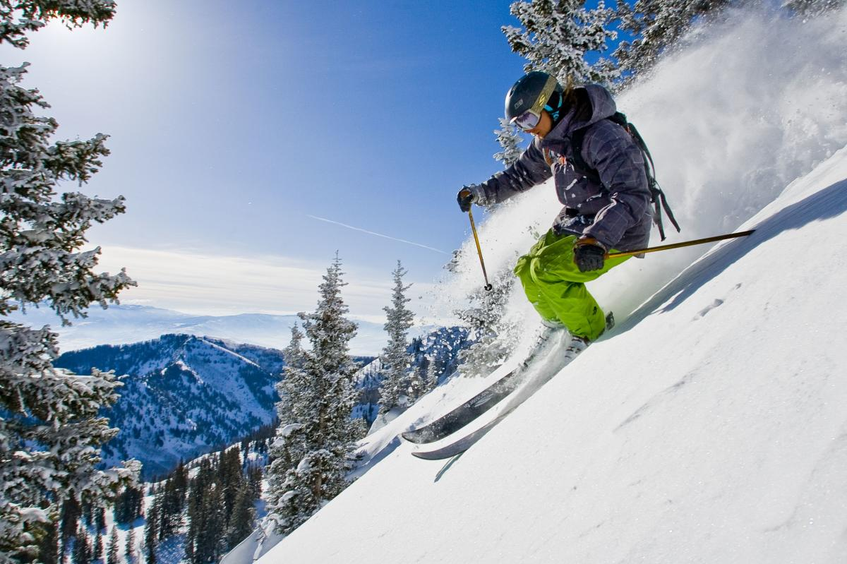 Skiing powder in the Alta backcountry