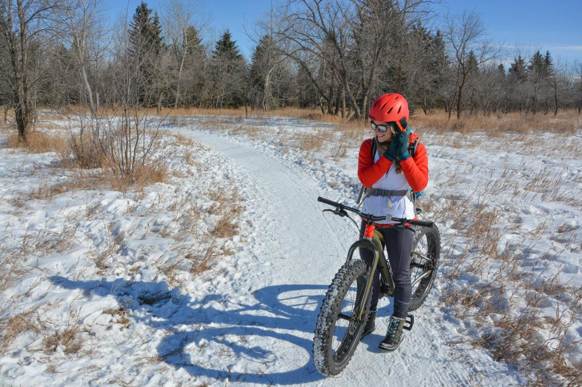 Fat biking through Meewasin Valley Trails in Saskatoon, SK