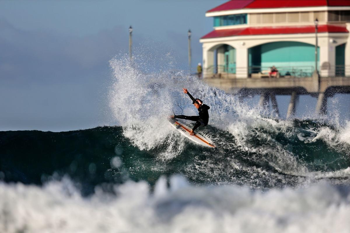 Surfing in Huntington Beach, California