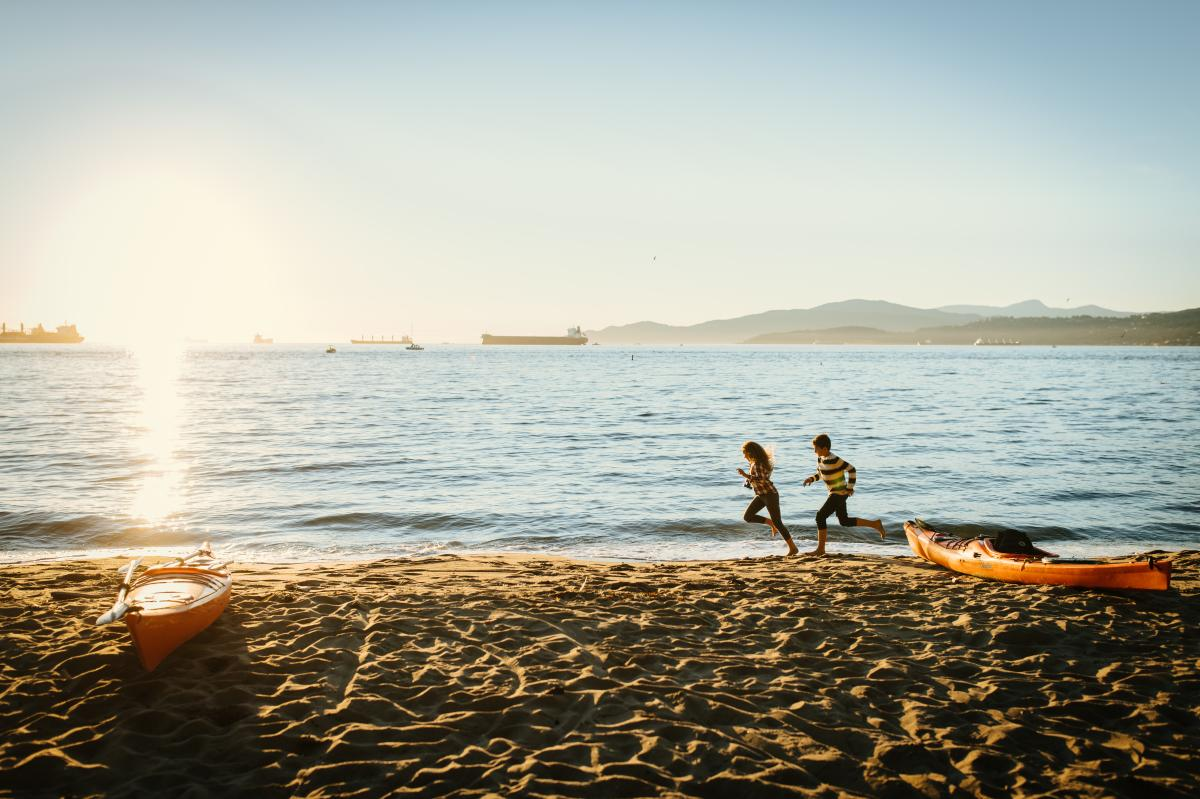 Family experience beach