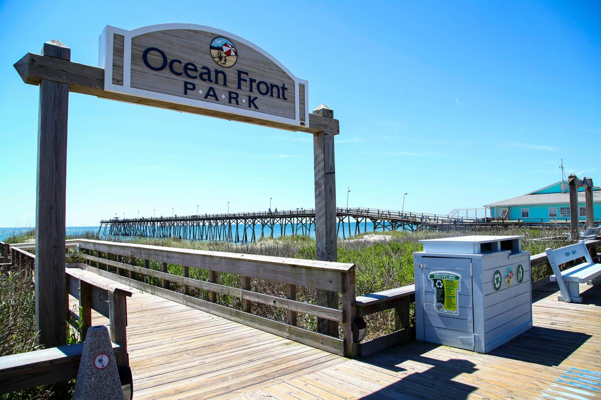 Oceanfront Park Sign in Kure Beach