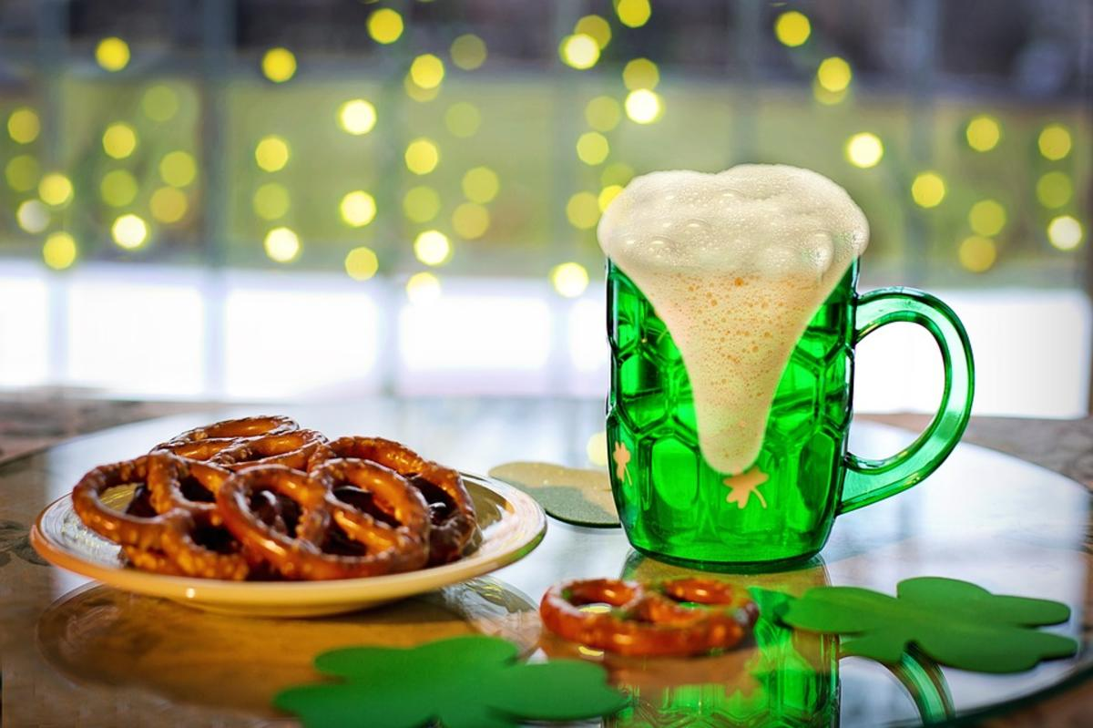 Green beer and pretzels on St. Patrick's Day in Huntsville