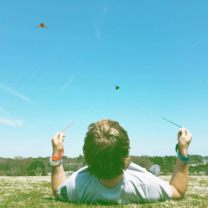 Flying a Kite at Mount Trashmore