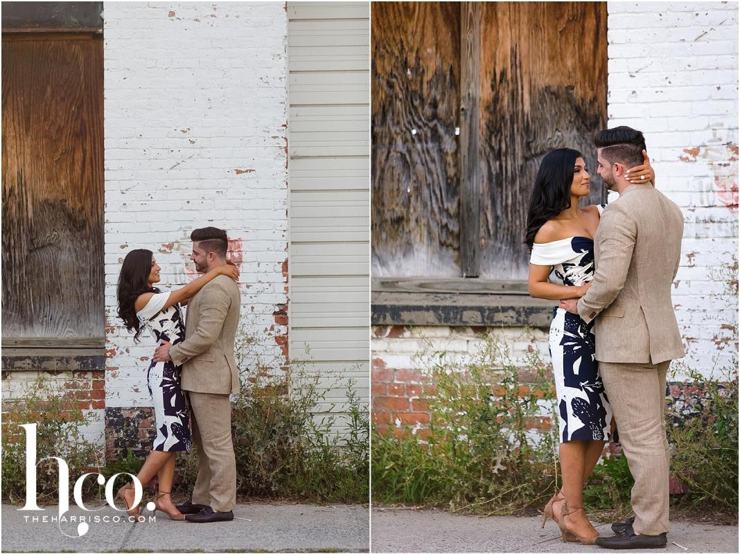 Collage of couple in back alley in Saratoga NY for engagement photo shoot
