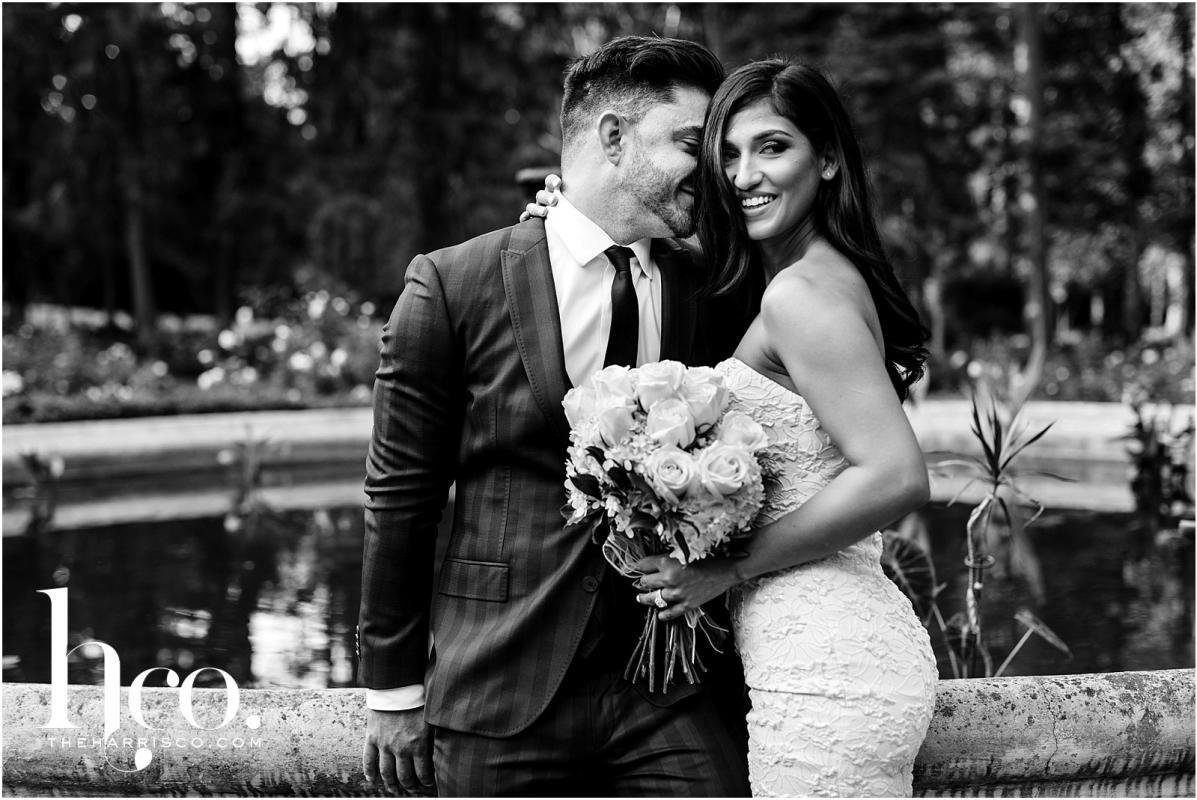 Black and white photo on couple on wedding day in Yaddo Gardens Saratoga NY