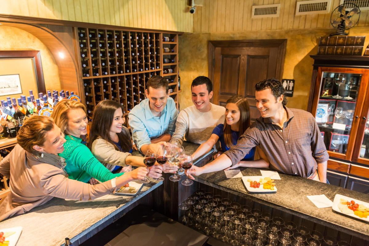 Group cheers at Crossing Vineyards