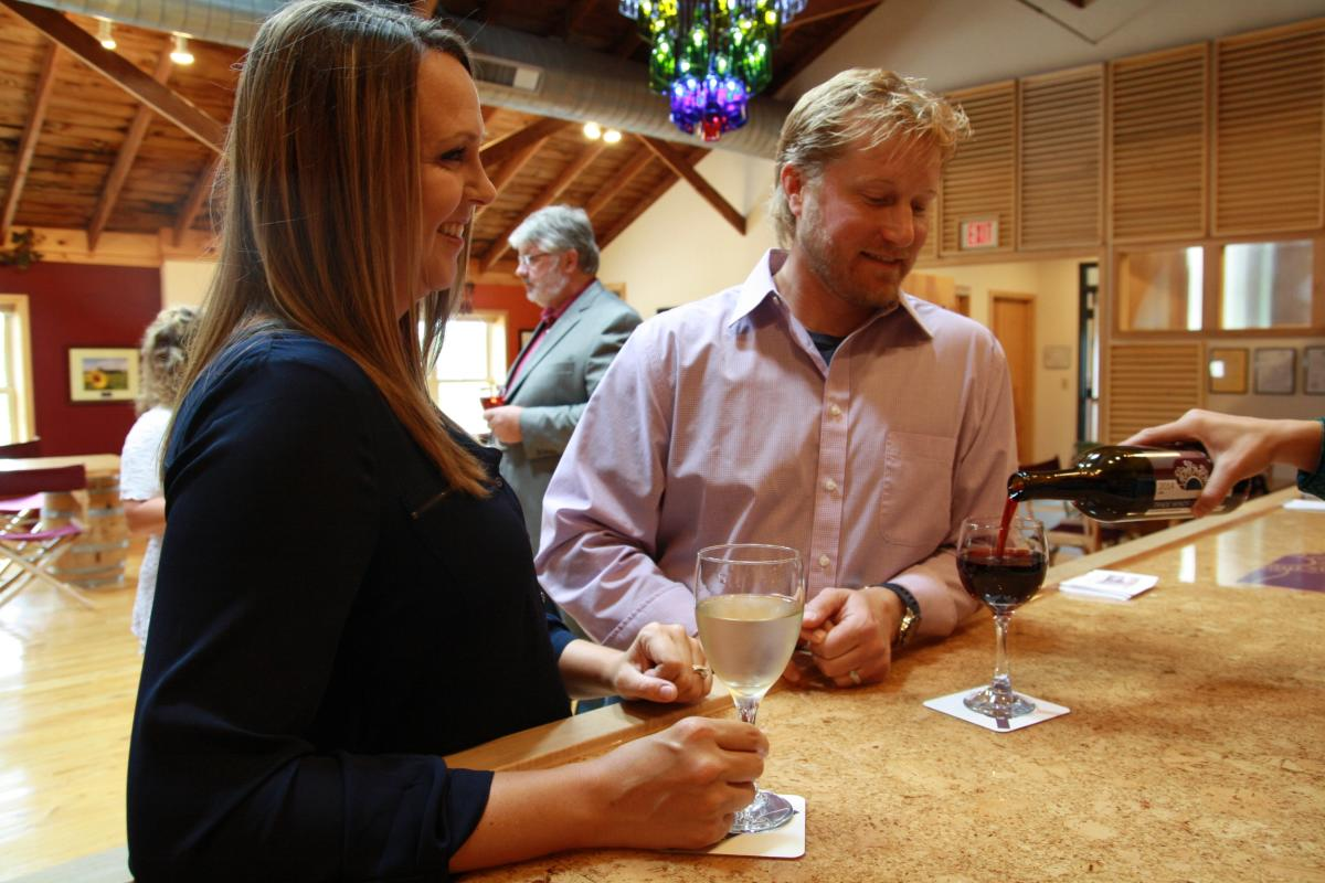 Try a glass at the Sunset Point Winery, before or after a tour.