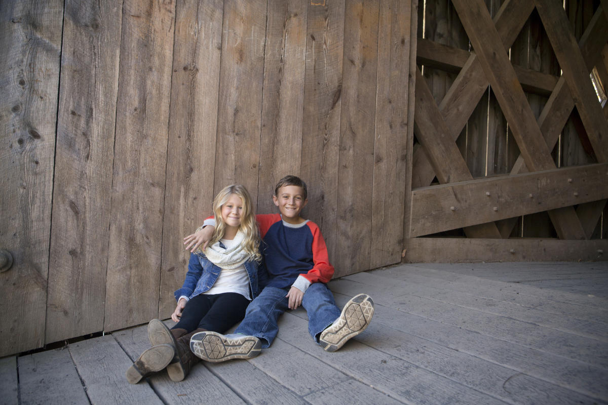 Family photo in Schofield Ford Covered Bridge