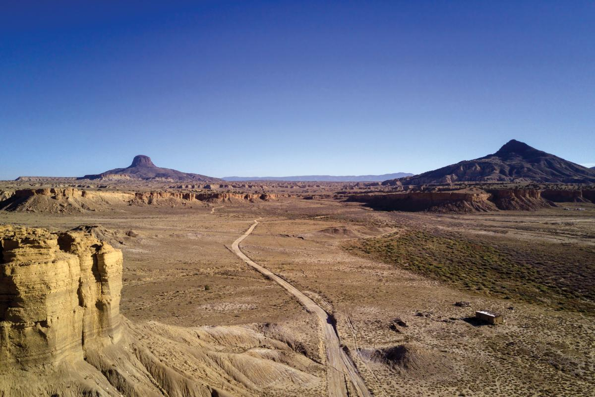 Cabezon Peak marks the backdrop of the rugged Rio Puerco Valley