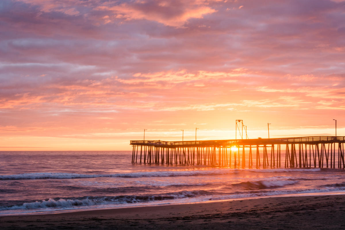 Oceanfront sunset at the pier