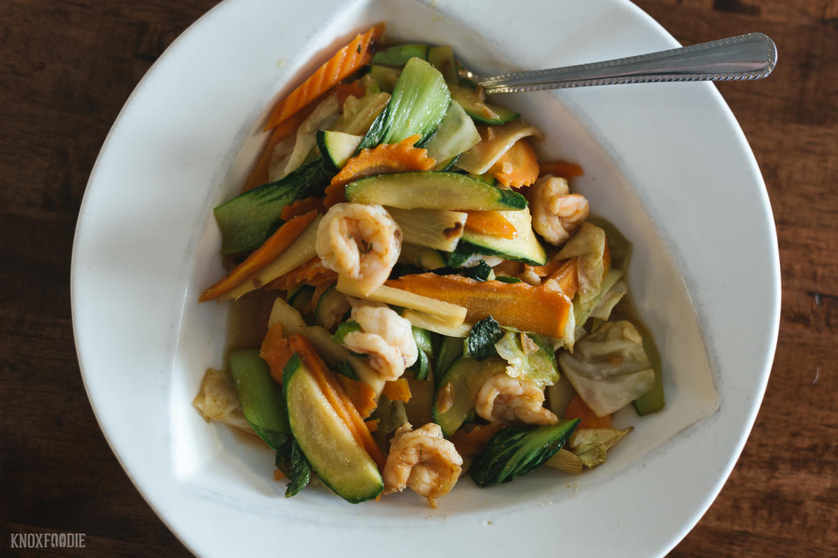 stir fry vegetables with shrimp