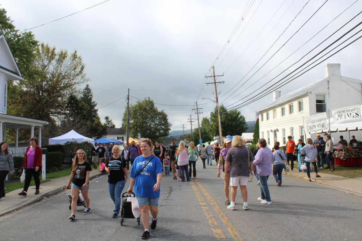 People walking along the street lined with vendors at the Catoctin Colorfest