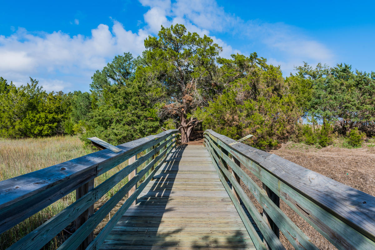 A wooden boardwalk connects the Earth Day Nature Trail across the marsh in Brunswick, Georgia