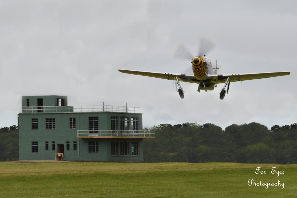 RAF Goxhill Control Tower and P51 Mustang