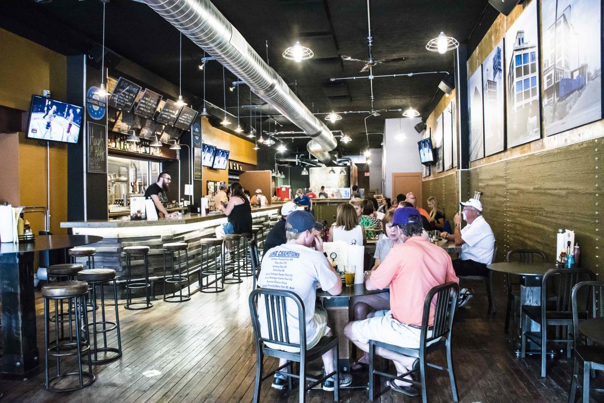 Patrons inside the Blue Skye Brewery in Kansas