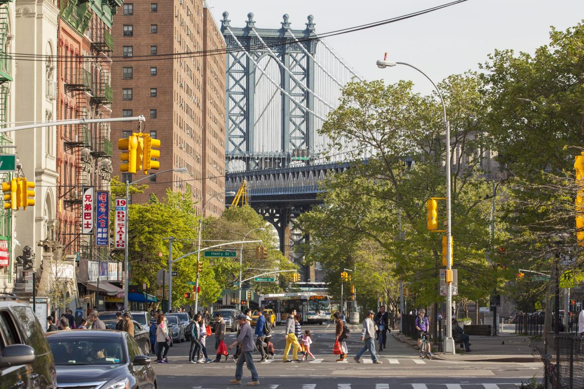 chinatown, street, manhattan bridge