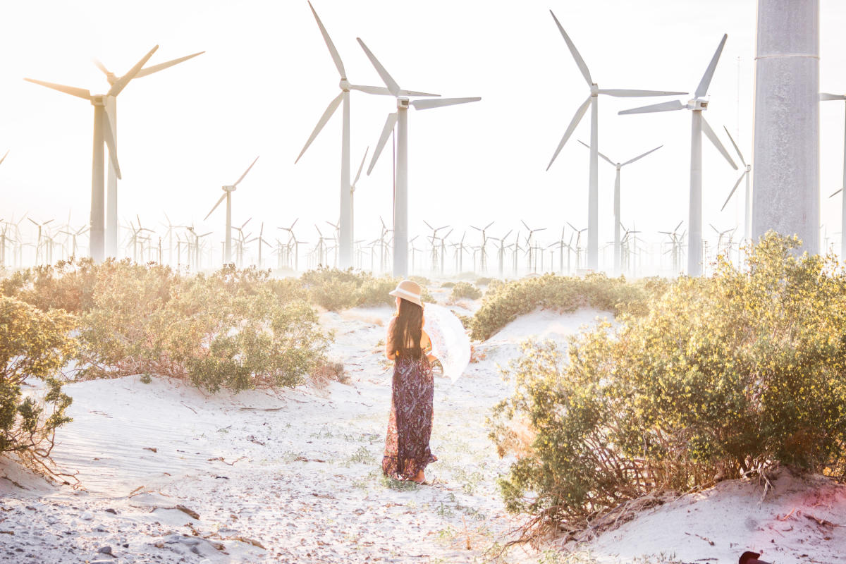 Women walking through a desert of windmills.