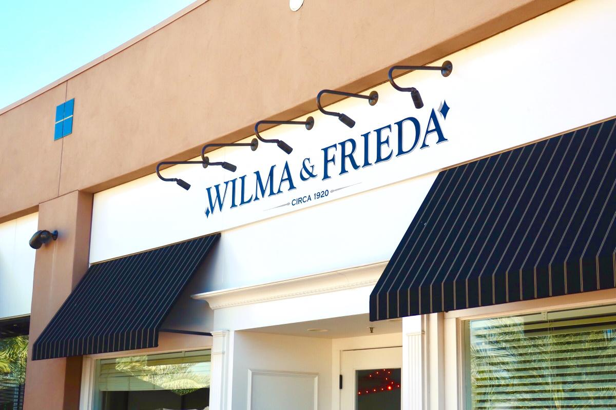 Store front of Wilma and Frieda cafe.