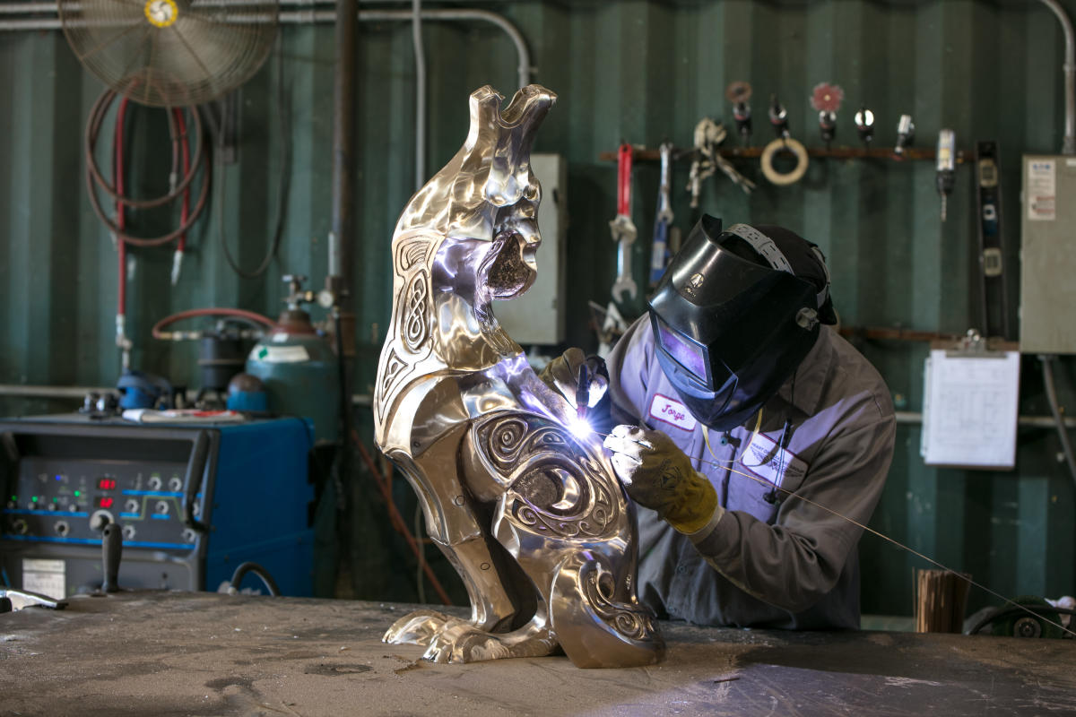 Metal Sculpture Being Made
