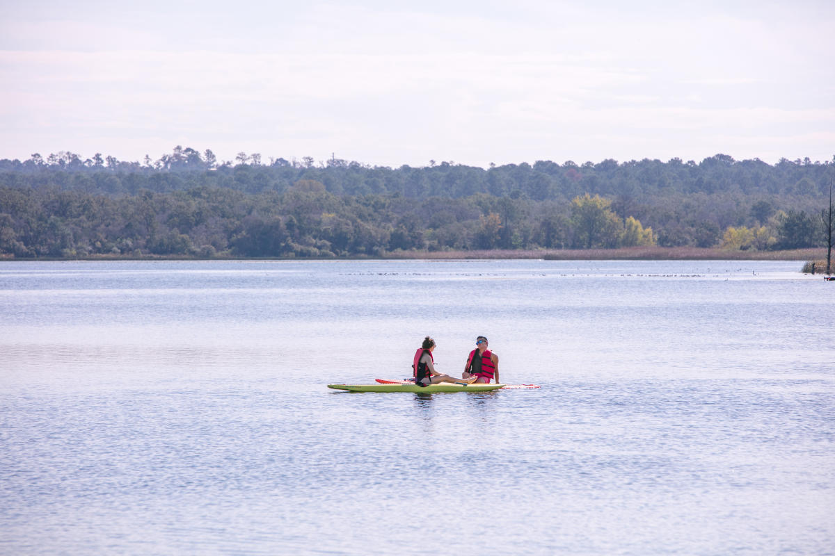 Man and woman on paddle board on wooded lake