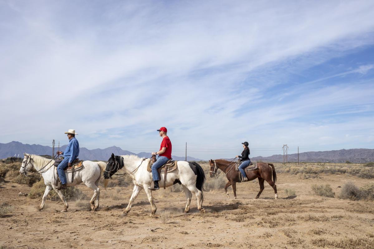 Men Riding Horses at Koli Equestrian Center in Chandler