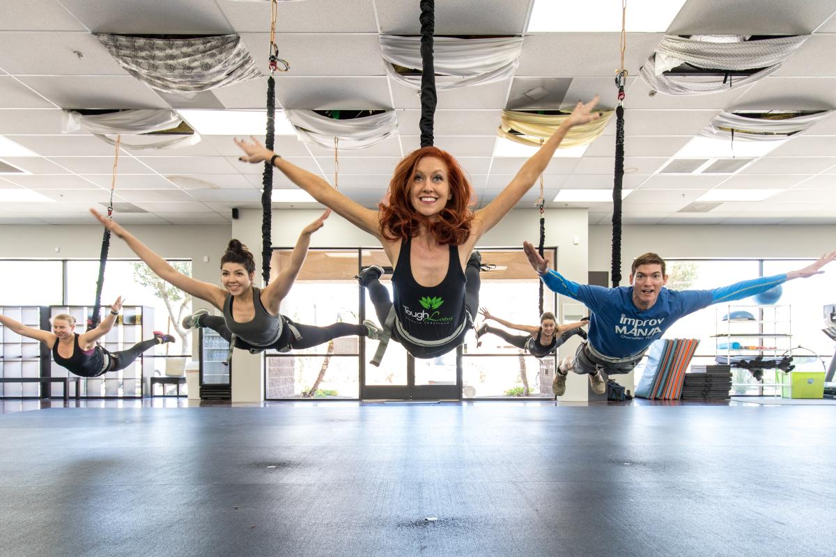 Tough Lotus - aerial fitness class, trio