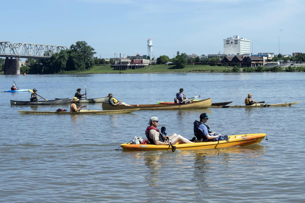 Group kayaking the Ohio River