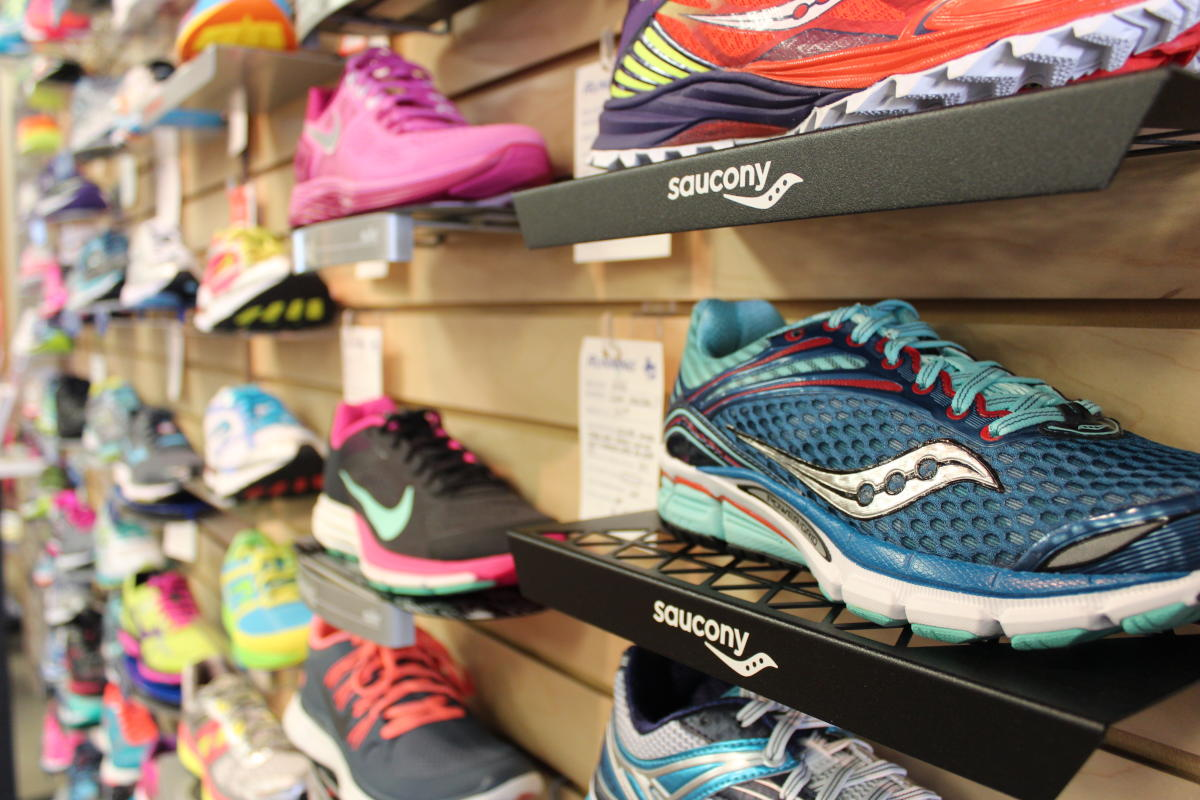 Wall of sneakers at the Aardvark Running Shop in Bethlehem, PA