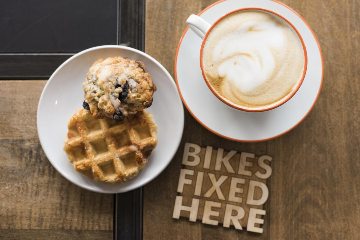 SHIFT Cyclery & Coffee Bar Coffee and Waffle