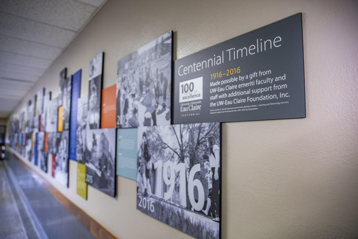 Historical timeline of UWEC in Schofield Hall