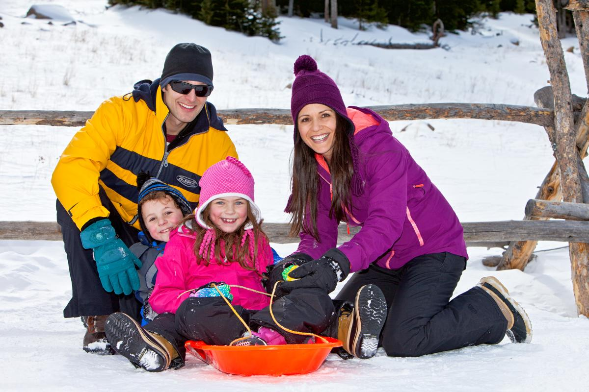 Family Sledding at Rocky Mountain National Park