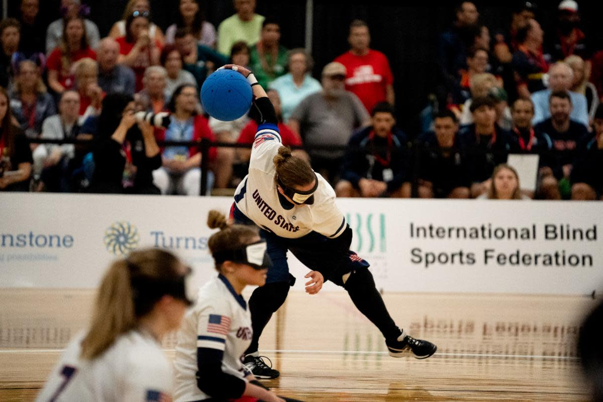 Lisa Czechowski pitches the ball down the court during the Women's Goalball Finals Game against China in the IBSA 2019 Goalball & Judo International Qualifier event held in Fort Wayne this summer