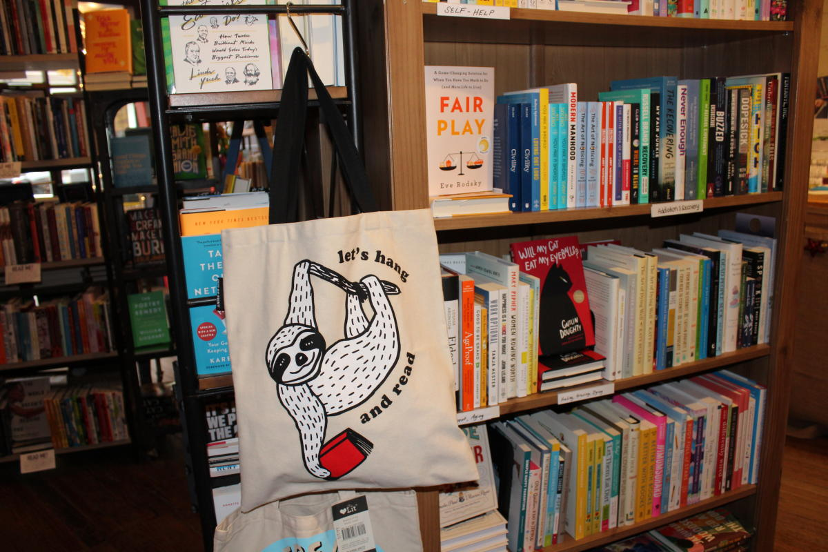 Books and book bags at the Curious Iguana